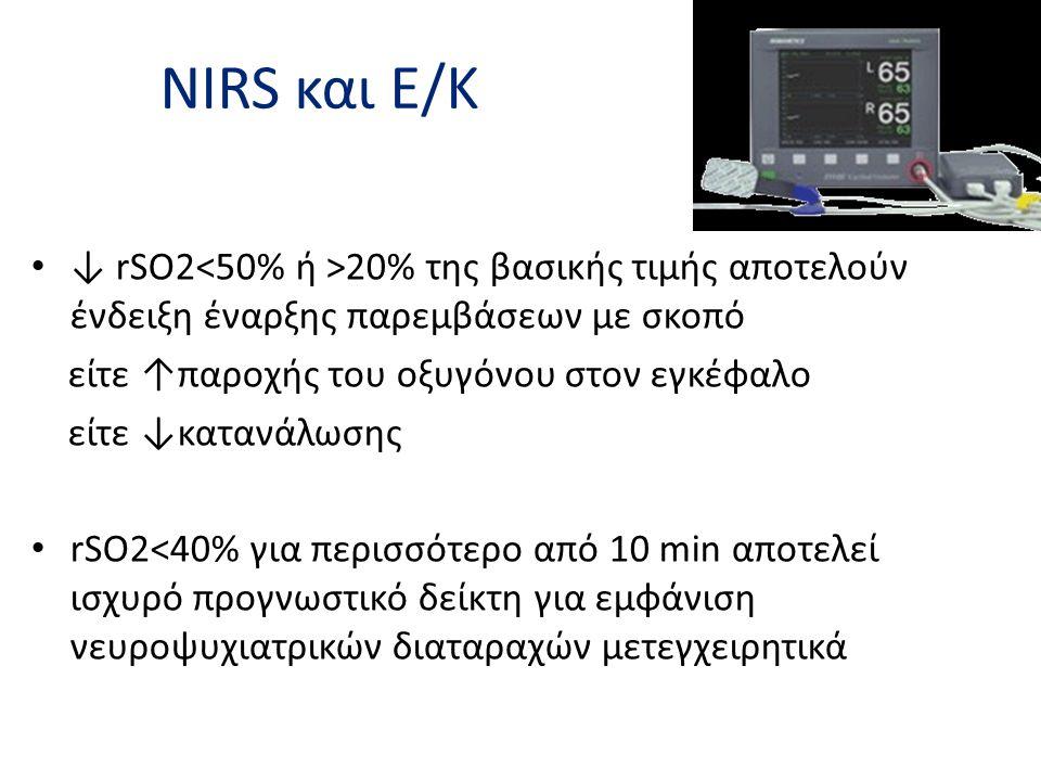 NIRS και Ε/Κ • ↓ rSO2 20% της βασικής τιμής αποτελούν ένδειξη έναρξης παρεμβάσεων με σκοπό είτε ↑παροχής του οξυγόνου στον εγκέφαλο είτε ↓κατανάλωσης
