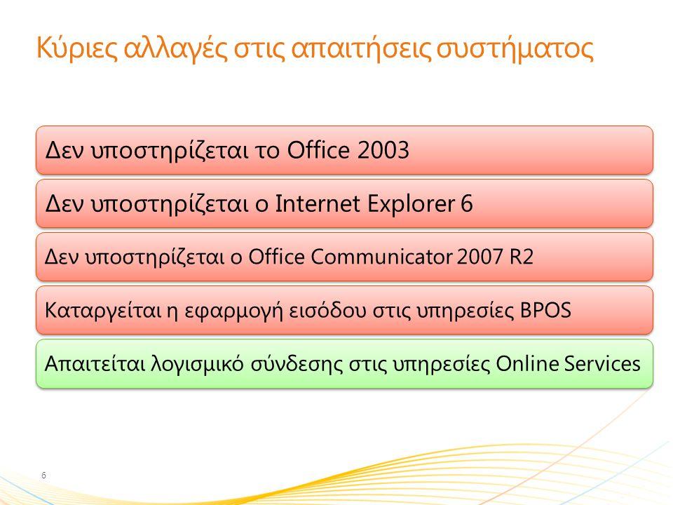 Κύριες αλλαγές στις απαιτήσεις συστήματος 6 Δεν υποστηρίζεται το Office 2003Δεν υποστηρίζεται ο Internet Explorer 6 Δεν υποστηρίζεται ο Office Communi