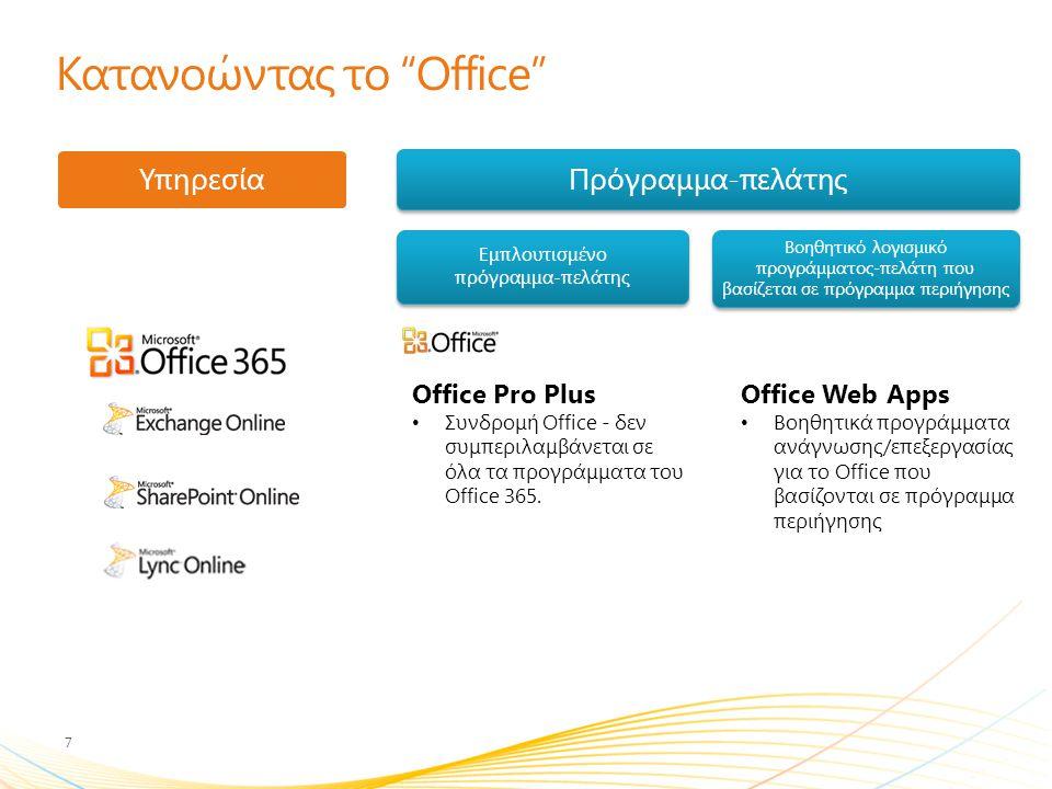 Office 365, πρόγραμμα-πελάτης και βοηθητικό πρόγραμμα του Office που βασίζεται σε πρόγραμμα περιήγησης Αναβάθμιση σε Office 2010 ή Office 2007 SP2.