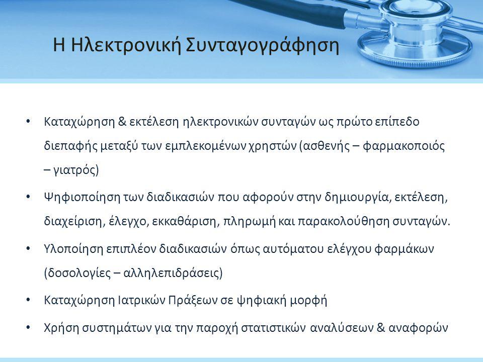 Πλεονεκτήματα της Ηλεκτρονικής Συνταγογράφησης • Μείωση Συνταγογραφικών λαθών • Εξοικονόμηση χρόνου • Ευκολία ανάγνωσης & αποφυγή παρερμηνειών • Προειδοποιήσεις για αλληλεπιδράσεις και αλλεργίες • Διαφάνεια στις συναλλαγές & Πλήρης έλεγχος • Μείωση φαρμακευτικών δαπανών