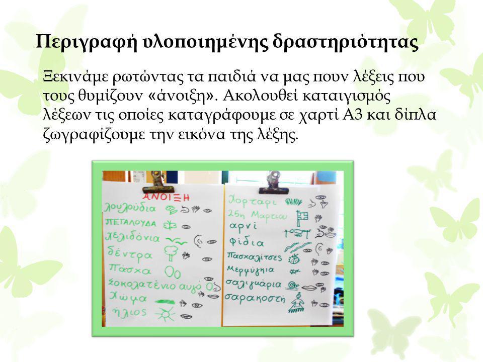 Περιγραφή υλοποιημένης δραστηριότητας Ξεκινάμε ρωτώντας τα παιδιά να μας πουν λέξεις που τους θυμίζουν « άνοιξη ». Ακολουθεί καταιγισμός λέξεων τις οπ