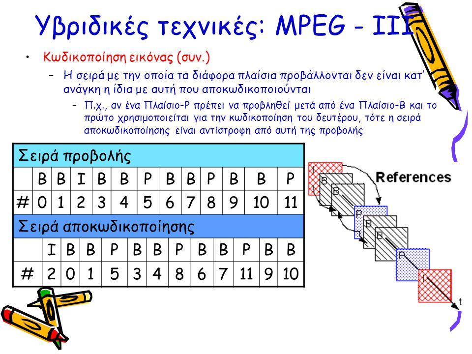 Υβριδικές τεχνικές: ΜPEG - ΙΙΙ •Κωδικοποίηση εικόνας (συν.) –Η σειρά με την οποία τα διάφορα πλαίσια προβάλλονται δεν είναι κατ' ανάγκη η ίδια με αυτή