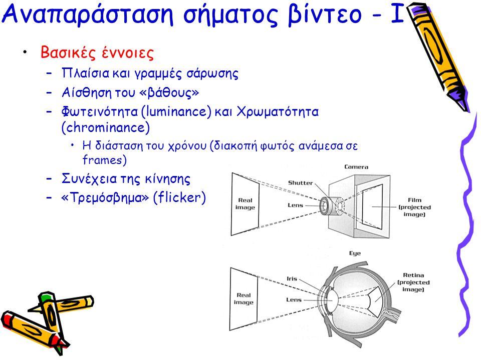 •Βασικές έννοιες –Πλαίσια και γραμμές σάρωσης –Αίσθηση του «βάθους» –Φωτεινότητα (luminance) και Χρωματότητα (chrominance) •Η διάσταση του χρόνου (δια