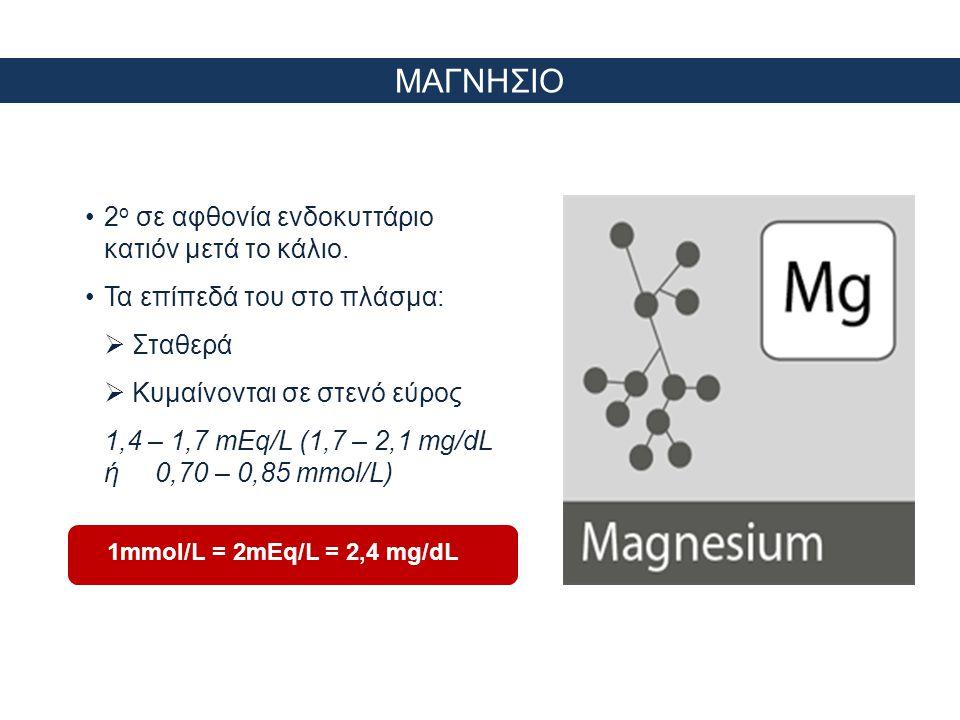 Κατανομή μαγνησίου ΟΛΙΚΟ ΜΑΓΝΗΣΙΟ = 25 gr (1000 mmol) ECF <1% ΤΡΕΙΣ ΤΥΠΟΙ Free = 65% Complexed = 15% Protein-bound = 20% ΑΡΝΗΤΙΚΟ ΙΣΟΖΥΓΙΟ  Μείωση νεφρικής αποβολής σε <0,5% του διηθούμενου φορτίου  Η κινητοποίηση των αποθηκών των οστών είναι αργή!!.