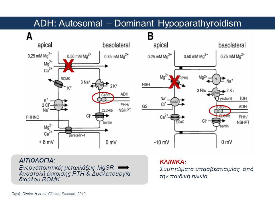 ADH: Autosomal – Dominant Hypoparathyroidism Πηγή: Dimke H et all, Clinical Science, 2010 ΑΙΤΙΟΛΟΓΙΑ: Ενεργοποιητικές μεταλλάξεις MgSR Αναστολή έκκρισ