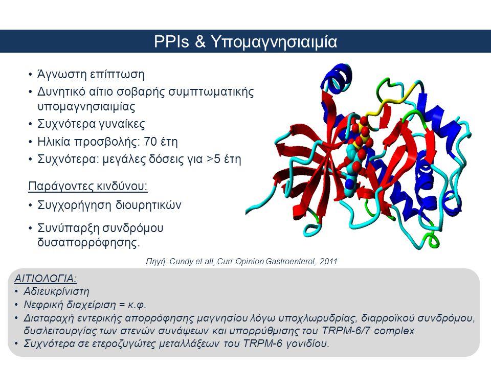 PPIs & Υπομαγνησιαιμία •Άγνωστη επίπτωση •Δυνητικό αίτιο σοβαρής συμπτωματικής υπομαγνησιαιμίας •Συχνότερα γυναίκες •Ηλικία προσβολής: 70 έτη •Συχνότε