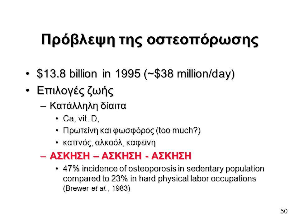 50 Πρόβλεψη της οστεοπόρωσης •$13.8 billion in 1995 (~$38 million/day) •Επιλογές ζωής –Κατάλληλη δίαιτα •Ca, vit. D, •Πρωτείνη και φωσφόρος (too much?