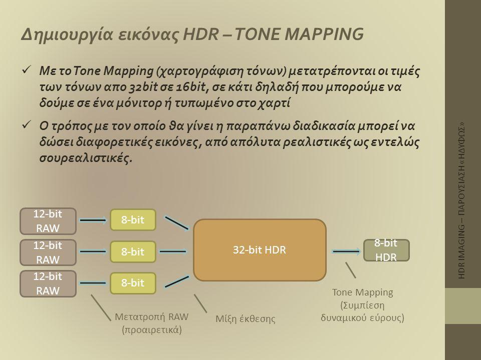 HDR IMAGING – ΠΑΡΟΥΣΙΑΣΗ «ΗΔΥΦΩΣ» Δημιουργία εικόνας HDR – TONE MAPPING  Με το Tone Mapping (χαρτογράφιση τόνων) μετατρέπονται οι τιμές των τόνων απο