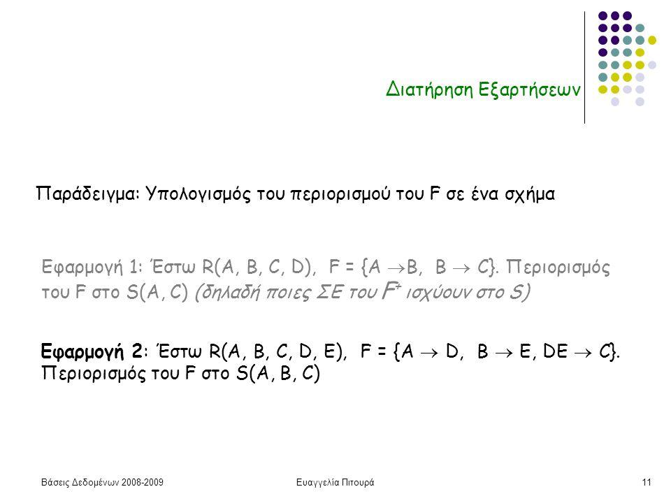 Βάσεις Δεδομένων 2008-2009Ευαγγελία Πιτουρά11 Διατήρηση Εξαρτήσεων Παράδειγμα: Υπολογισμός του περιορισμού του F σε ένα σχήμα Εφαρμογή 1: Έστω R(A, B,