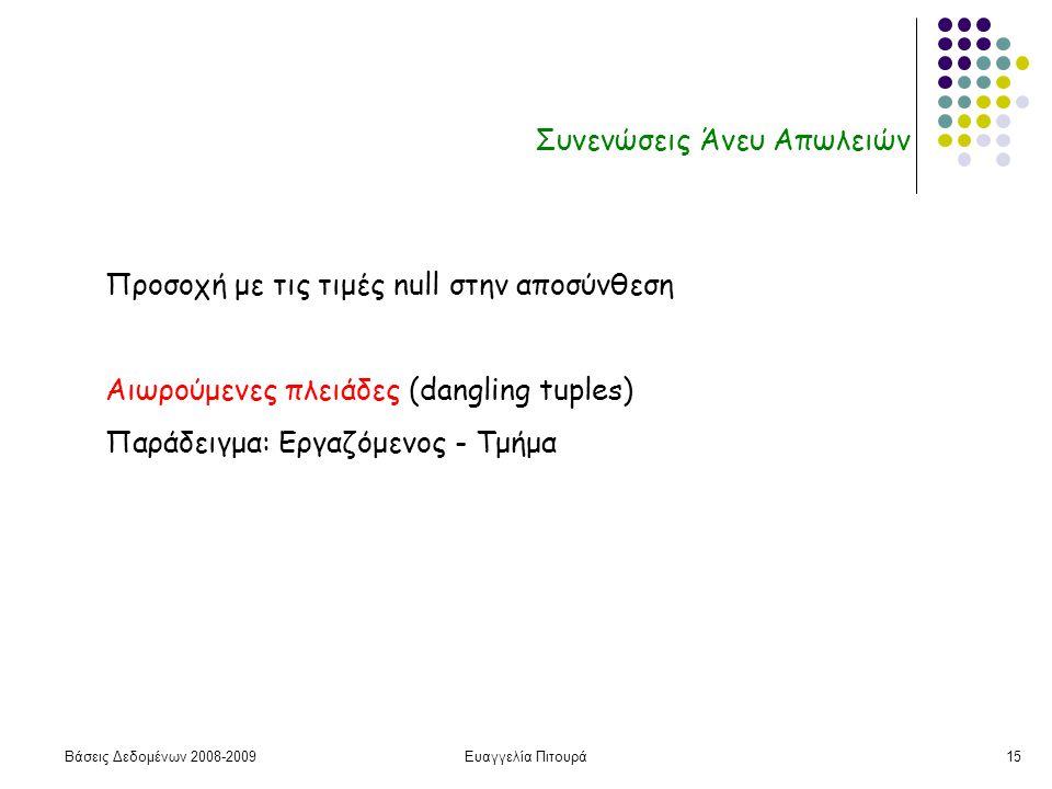 Βάσεις Δεδομένων 2008-2009Ευαγγελία Πιτουρά15 Συνενώσεις Άνευ Απωλειών Προσοχή με τις τιμές null στην αποσύνθεση Αιωρούμενες πλειάδες (dangling tuples