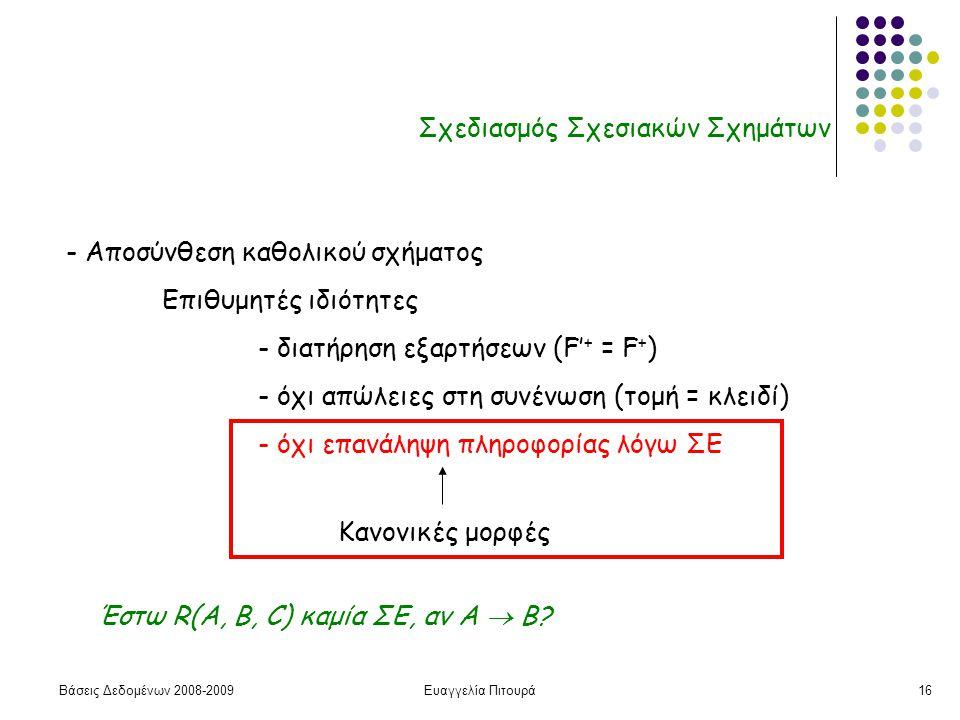 Βάσεις Δεδομένων 2008-2009Ευαγγελία Πιτουρά16 Σχεδιασμός Σχεσιακών Σχημάτων - Αποσύνθεση καθολικού σχήματος Επιθυμητές ιδιότητες - διατήρηση εξαρτήσεω