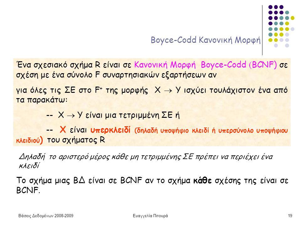 Βάσεις Δεδομένων 2008-2009Ευαγγελία Πιτουρά19 Boyce-Codd Κανονική Μορφή Ένα σχεσιακό σχήμα R είναι σε Κανονική Μορφή Boyce-Codd ( BCNF) σε σχέση με έν