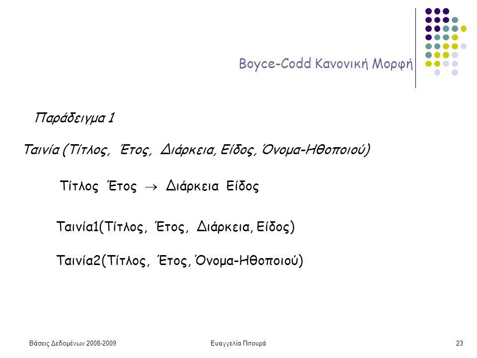 Βάσεις Δεδομένων 2008-2009Ευαγγελία Πιτουρά23 Boyce-Codd Κανονική Μορφή Παράδειγμα 1 Ταινία (Τίτλος, Έτος, Διάρκεια, Είδος, Όνομα-Ηθοποιού) Τίτλος Έτο