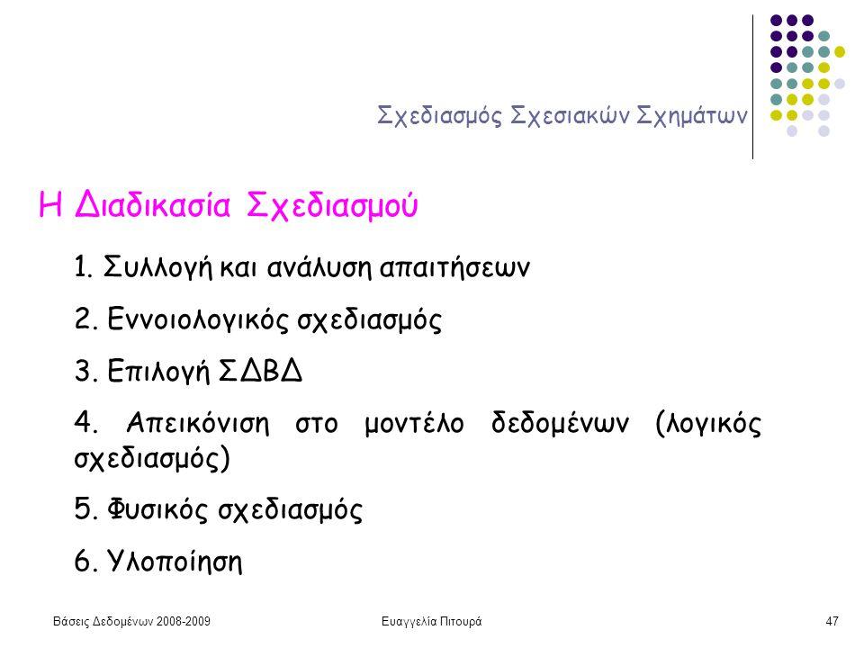 Βάσεις Δεδομένων 2008-2009Ευαγγελία Πιτουρά47 Σχεδιασμός Σχεσιακών Σχημάτων Η Διαδικασία Σχεδιασμού 1. Συλλογή και ανάλυση απαιτήσεων 2. Εννοιολογικός