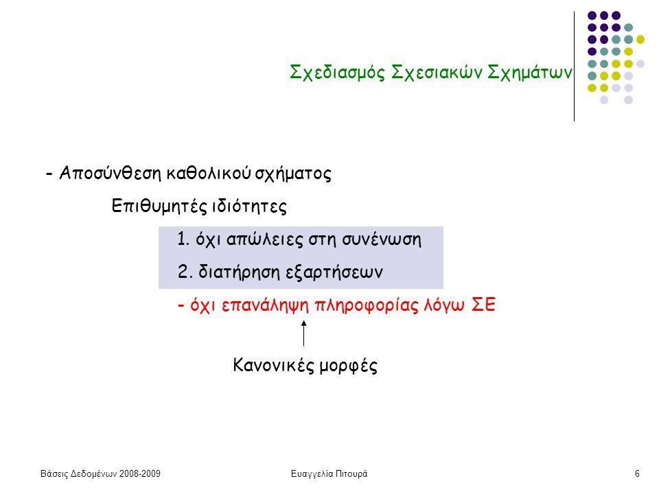 Βάσεις Δεδομένων 2008-2009Ευαγγελία Πιτουρά6 Σχεδιασμός Σχεσιακών Σχημάτων - Αποσύνθεση καθολικού σχήματος Επιθυμητές ιδιότητες 1. όχι απώλειες στη συ