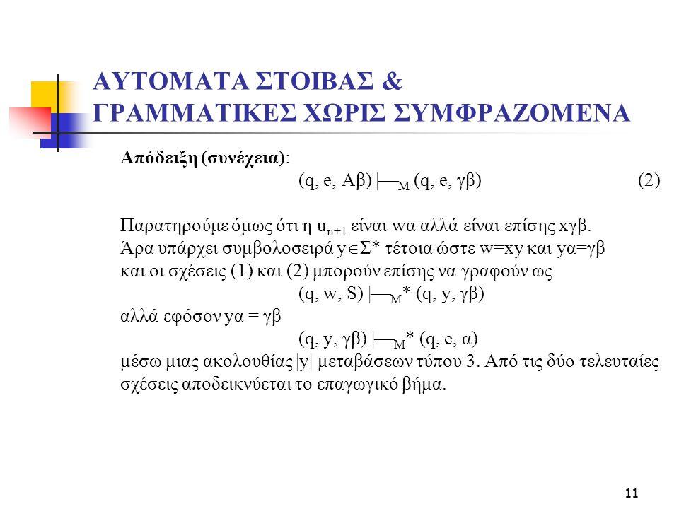 11 ΑΥΤΟΜΑΤΑ ΣΤΟΙΒΑΣ & ΓΡΑΜΜΑΤΙΚΕΣ ΧΩΡΙΣ ΣΥΜΦΡΑΖΟΜΕΝΑ Απόδειξη (συνέχεια): (q, e, Aβ) |  M (q, e, γβ)(2) Παρατηρούμε όμως ότι η u n+1 είναι wα αλλά είναι επίσης xγβ.