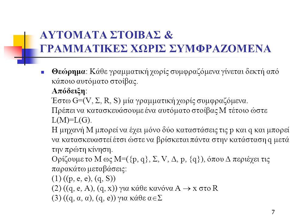 7 ΑΥΤΟΜΑΤΑ ΣΤΟΙΒΑΣ & ΓΡΑΜΜΑΤΙΚΕΣ ΧΩΡΙΣ ΣΥΜΦΡΑΖΟΜΕΝΑ  Θεώρημα: Κάθε γραμματική χωρίς συμφραζόμενα γίνεται δεκτή από κάποιο αυτόματο στοίβας.