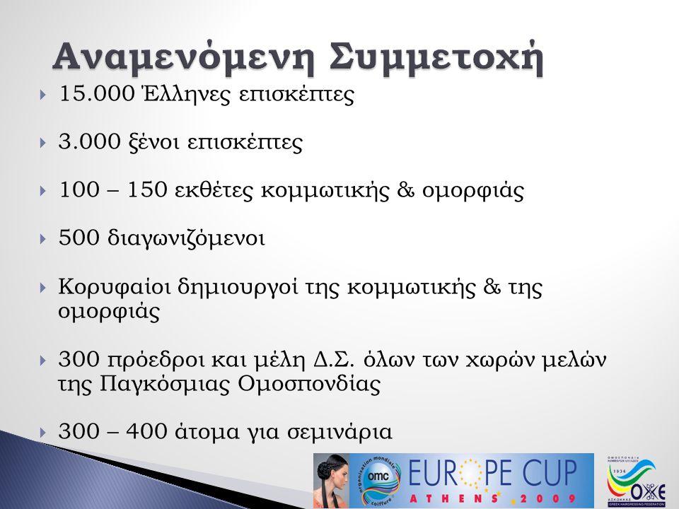  15.000 Έλληνες επισκέπτες  3.000 ξένοι επισκέπτες  100 – 150 εκθέτες κομμωτικής & ομορφιάς  500 διαγωνιζόμενοι  Κορυφαίοι δημιουργοί της κομμωτικής & της ομορφιάς  300 πρόεδροι και μέλη Δ.Σ.