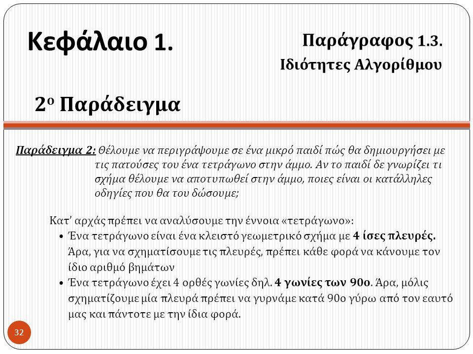 Κεφάλαιο 1. Παράγραφος 1.3. Ιδιότητες Αλγορίθμου 32 2 ο Παράδειγμα Παράδειγμα 2: Θέλουμε να περιγράψουμε σε ένα μικρό παιδί πώς θα δημιουργήσει με τις