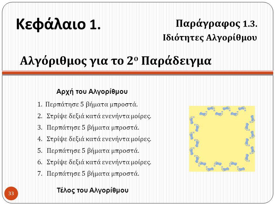 Κεφάλαιο 1. Παράγραφος 1.3. Ιδιότητες Αλγορίθμου 33 Αλγόριθμος για το 2 ο Παράδειγμα 1.Περπάτησε 5 βήματα μπροστά. 2. Στρίψε δεξιά κατά ενενήντα μοίρε