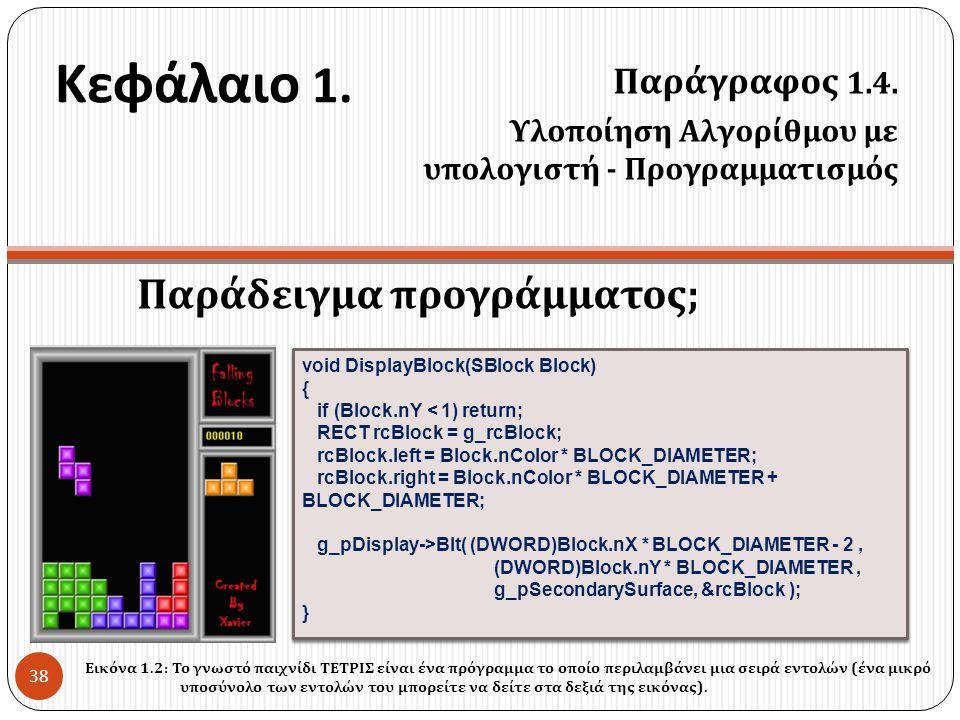 Κεφάλαιο 1. Παράδειγμα προγράμματος ; Παράγραφος 1.4. Υλοποίηση Αλγορίθμου με υπολογιστή - Προγραμματισμός 38 void DisplayBlock(SBlock Block) { if (Bl