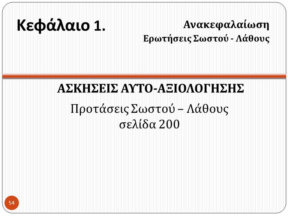 Κεφάλαιο 1. ΑΣΚΗΣΕΙΣ ΑΥΤΟ - ΑΞΙΟΛΟΓΗΣΗΣ Ανακεφαλαίωση Ερωτήσεις Σωστού - Λάθους 54 Προτάσεις Σωστού – Λάθους σελίδα 200
