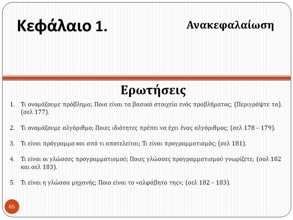 Κεφάλαιο 1. Ερωτήσεις Ανακεφαλαίωση 65 1.Τι ονομάζουμε πρόβλημα ; Ποια είναι τα βασικά στοιχεία ενός προβλήματος ; ( Περιγράψτε τα ). ( σελ 177). 2.Τι