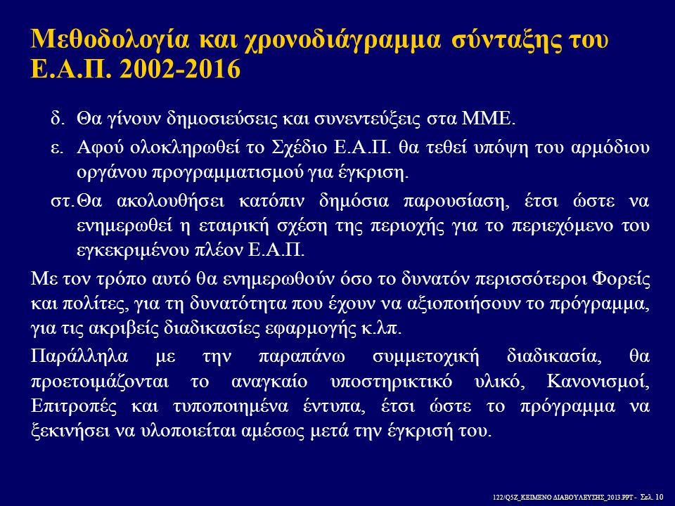 122/Q5Z_ΚΕΙΜΕΝΟ ΔΙΑΒΟΥΛΕΥΣΗΣ_2013.PPT - Σελ. 10 δ.Θα γίνουν δημοσιεύσεις και συνεντεύξεις στα ΜΜΕ. ε.Αφού ολοκληρωθεί το Σχέδιο Ε.Α.Π. θα τεθεί υπόψη
