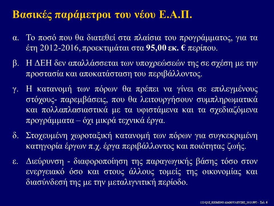 122/Q5Z_ΚΕΙΜΕΝΟ ΔΙΑΒΟΥΛΕΥΣΗΣ_2013.PPT - Σελ. 6 Βασικές παράμετροι του νέου Ε.Α.Π. α.Το ποσό που θα διατεθεί στα πλαίσια του προγράμματος, για τα έτη 2