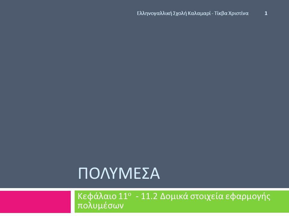 ΠΟΛΥΜΕΣΑ Κεφάλαιο 11 ο - 11.2 Δομικά στοιχεία εφαρμογής πολυμέσων Ελληνογαλλική Σχολή Καλαμαρί - Τίκβα Χριστίνα 1