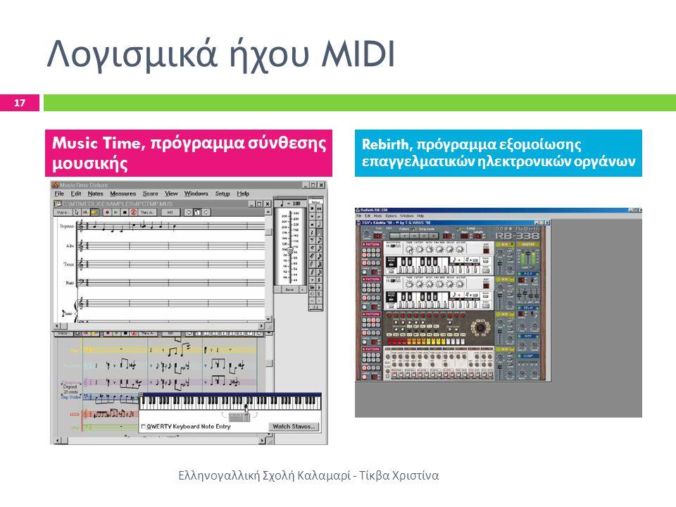 Λογισμικά ήχου MIDI 17 Ελληνογαλλική Σχολή Καλαμαρί - Τίκβα Χριστίνα Music Time, πρόγραμμα σύνθεσης μουσικής Rebirth, πρόγραμμα εξομοίωσης επαγγελματι