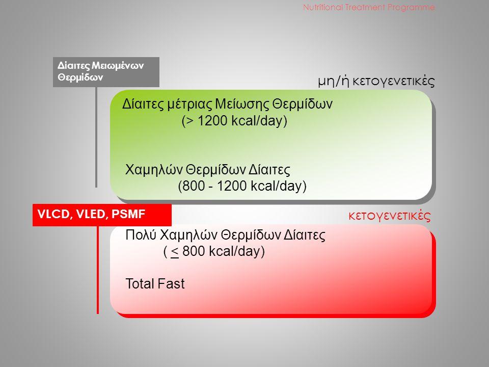 Δίαιτες μέτριας Μείωσης Θερμίδων (> 1200 kcal/day) Χαμηλών Θερμίδων Δίαιτες (800 - 1200 kcal/day) Πολύ Χαμηλών Θερμίδων Δίαιτες ( < 800 kcal/day) Total Fast μη/ή κετογενετικές κετογενετικές Δίαιτες Μειωμένων Θερμίδων VLCD, VLED, PSMF Nutritional Treatment Programme