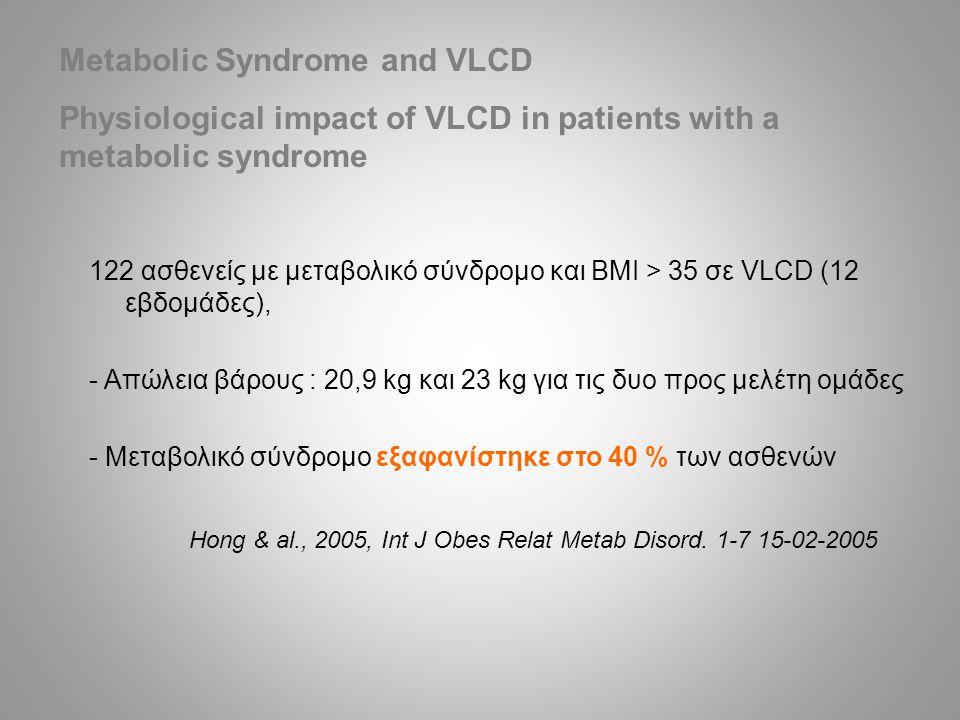 122 ασθενείς με μεταβολικό σύνδρομο και BMI > 35 σε VLCD (12 εβδομάδες), - Απώλεια βάρους : 20,9 kg και 23 kg για τις δυο προς μελέτη ομάδες - Μεταβολικό σύνδρομο εξαφανίστηκε στο 40 % των ασθενών Hong & al., 2005, Int J Obes Relat Metab Disord.