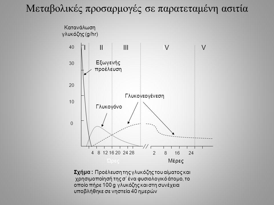Μεταβολικές προσαρμογές σε παρατεταμένη ασιτία 4 8 12 16 20 24 28 2 8 16 24 40 30 20 10 0 ΏρεςΜέρες Κατανάλωση γλυκόζης (g/hr) Εξωγενής προέλευση Γλυκογόνο Γλυκονεογένεση Σχήμα : Προέλευση της γλυκόζης του αίματος και χρησιμοποίησή της σ' ένα φυσιολογικό άτομο, το οποίο πήρε 100 g γλυκόζης και στη συνέχεια υποβλήθηκε σε νηστεία 40 ημερών ΙΙΙΙΙΙΙVΙVV