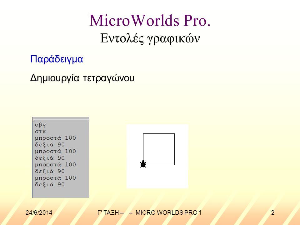 24/6/2014Γ' ΤΑΞΗ -- -- MICRO WORLDS PRO 12 MicroWorlds Pro. Εντολές γραφικών Δημιουργία τετραγώνου Παράδειγμα