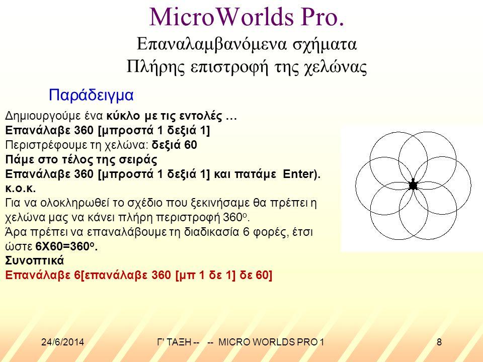 24/6/2014Γ' ΤΑΞΗ -- -- MICRO WORLDS PRO 18 MicroWorlds Pro. Επαναλαμβανόμενα σχήματα Πλήρης επιστροφή της χελώνας Παράδειγμα Δημιουργούμε ένα κύκλο με