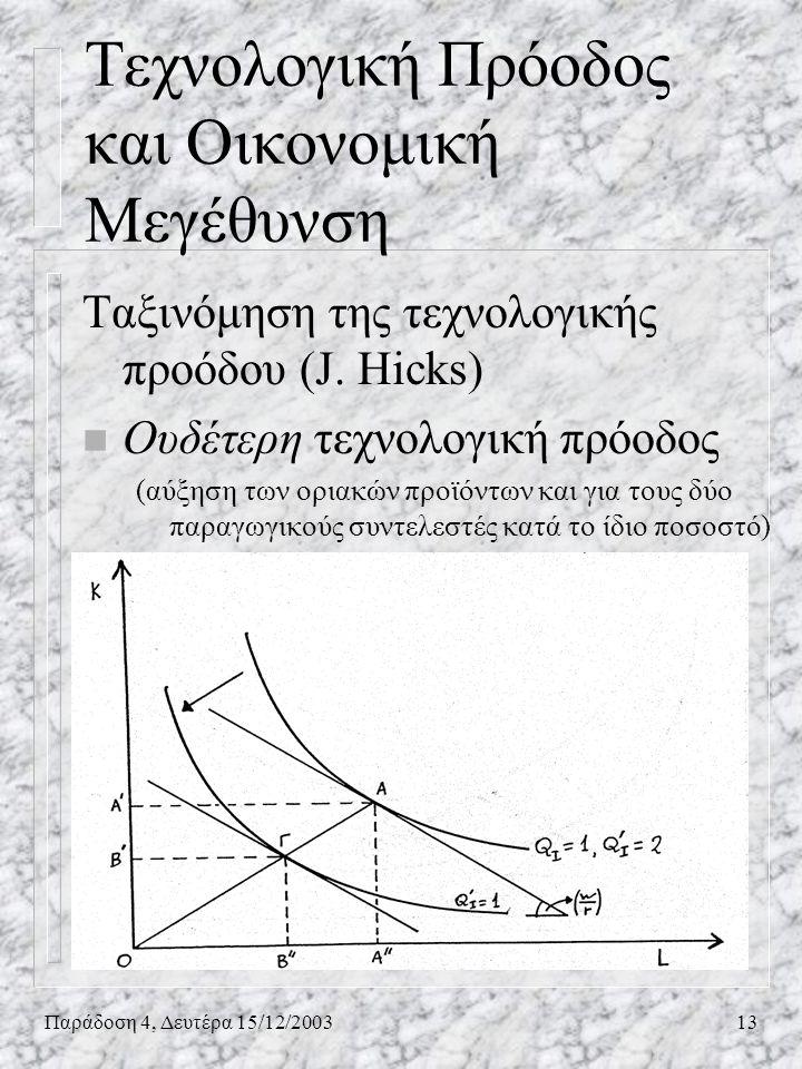 Παράδοση 4, Δευτέρα 15/12/200313 Ταξινόμηση της τεχνολογικής προόδου (J. Hicks) n Ουδέτερη τεχνολογική πρόοδος (αύξηση των οριακών προϊόντων και για τ