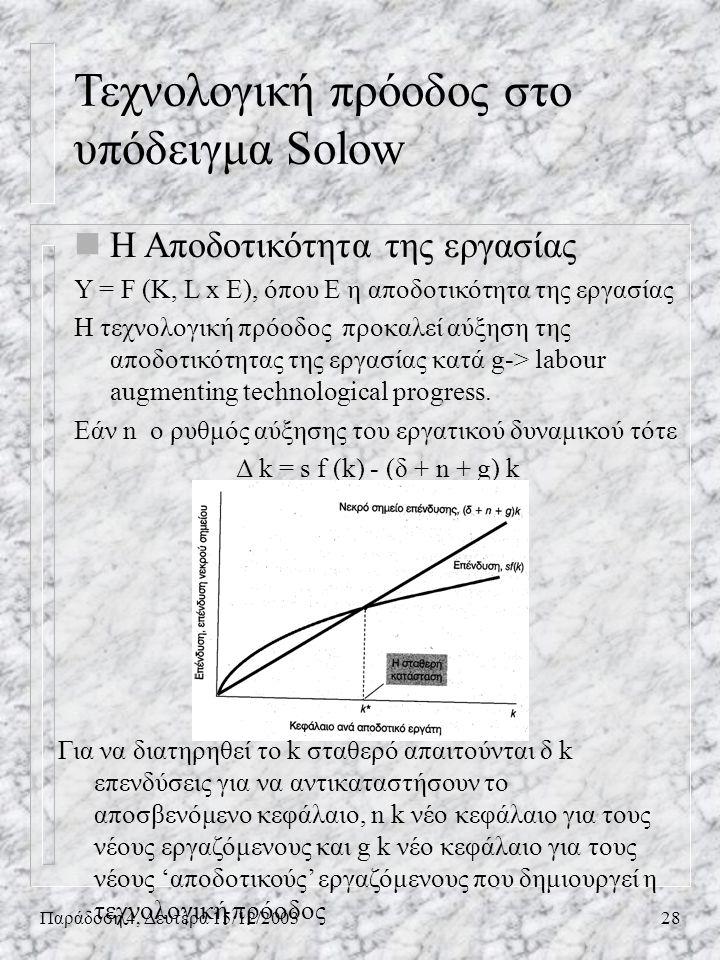 Παράδοση 4, Δευτέρα 15/12/200328 nΗ Αποδοτικότητα της εργασίας Y = F (K, L x E), όπου E η αποδοτικότητα της εργασίας Η τεχνολογική πρόοδος προκαλεί αύ
