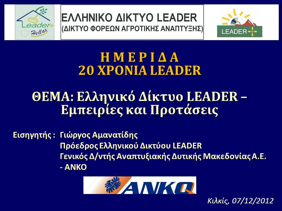 Εισηγητής : Γιώργος Αμανατίδης Πρόεδρος Ελληνικού Δικτύου LEADER Γενικός Δ/ντής Αναπτυξιακής Δυτικής Μακεδονίας Α.Ε.