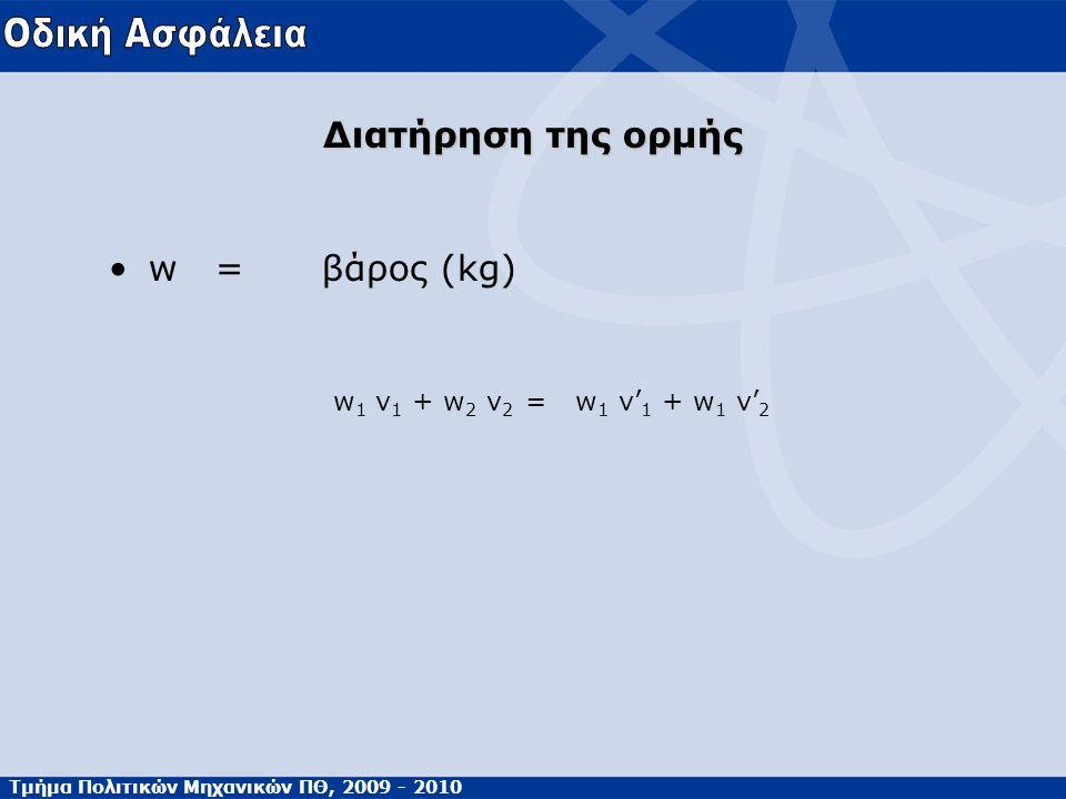 Τμήμα Πολιτικών Μηχανικών ΠΘ, 2009 - 2010 Διατήρηση της ορμής •w=βάρος (kg) w 1 v 1 + w 2 v 2 = w 1 v' 1 + w 1 v' 2