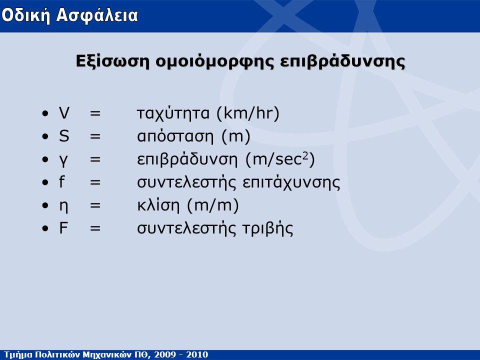 Τμήμα Πολιτικών Μηχανικών ΠΘ, 2009 - 2010 •V=ταχύτητα (km/hr) •S=απόσταση (m) •γ=επιβράδυνση (m/sec 2 ) •f=συντελεστής επιτάχυνσης •η=κλίση (m/m) •F=συντελεστής τριβής Εξίσωση ομοιόμορφης επιβράδυνσης