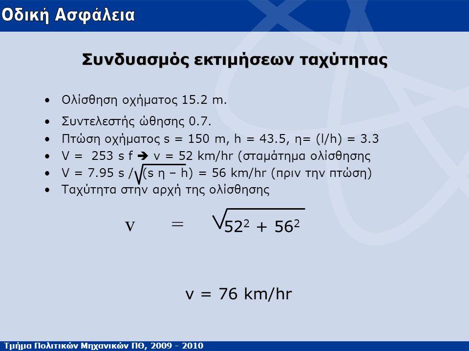 Τμήμα Πολιτικών Μηχανικών ΠΘ, 2009 - 2010 Συνδυασμός εκτιμήσεων ταχύτητας •Ολίσθηση οχήματος 15.2 m. •Συντελεστής ώθησης 0.7. •Πτώση οχήματος s = 150