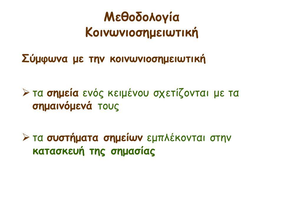 Μεθοδολογία Κοινωνιοσημειωτική Σύμφωνα με την κοινωνιοσημειωτική  τα σημεία ενός κειμένου σχετίζονται με τα σημαινόμενά τους  τα συστήματα σημείων ε