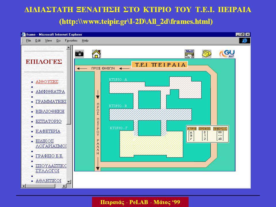 ΔΙΔΙΑΣΤΑΤΗ ΞΕΝΑΓΗΣΗ ΣΤΟ ΚΤΙΡΙΟ ΤΟΥ Τ.Ε.Ι. ΠΕΙΡΑΙΑ Πειραιάς - PeLAB - Μάιος '99 (http:\\www.teipir.gr\I-2D\All_2d\frames.html)
