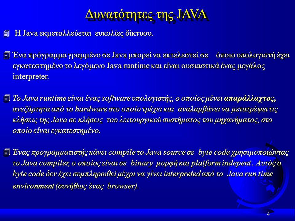 4 Δυνατότητες της JAVA Η Java εκμεταλλεύεται ευκολίες δίκτυου.