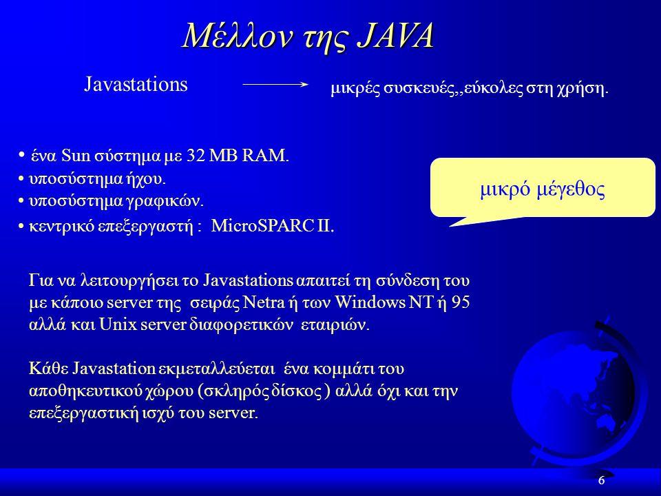 6 Μέλλον της JAVA Javastations μικρές συσκευές,,εύκολες στη χρήση.