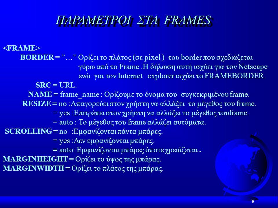 8 ΠΑΡΑΜΕΤΡΟI ΣTA FRAMES ΒORDER = … Ορίζει το πλάτος (σε pixel ) του border που σχεδιάζεται γύρω από το Frame.H δήλωση αυτή ισχύει για τον Netscape ενώ για τον Internet explorer ισχύει το FRAMEBORDER.