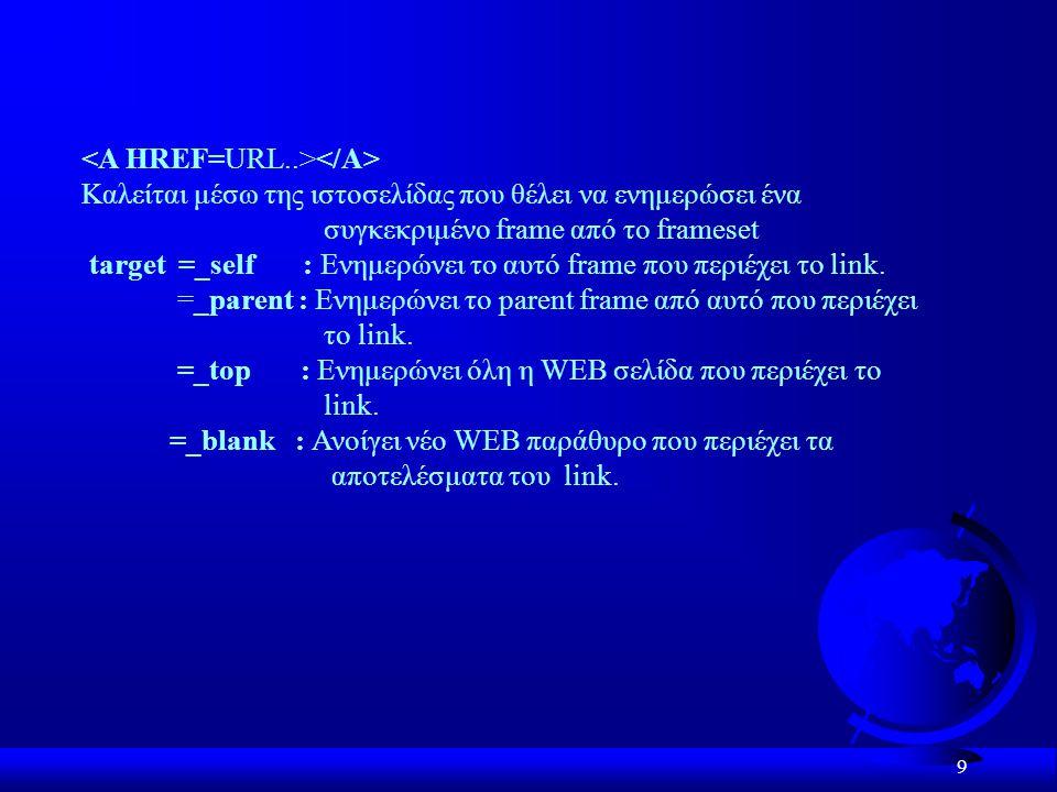 9 Καλείται μέσω της ιστοσελίδας που θέλει να ενημερώσει ένα συγκεκριμένο frame από το frameset target =_self : Ενημερώνει το αυτό frame που περιέχει το link.