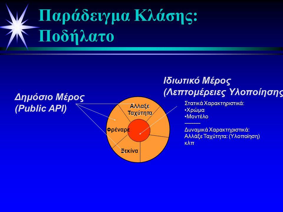 Κλάση ή Τάξη Αντικειμένων  Μία κλάση ή τάξη είναι ένα σχέδιο ή πρότυπο που ορίζει τις κοινές μεταβλητές και μεθόδους όλων των ομοειδών αντικειμένων.