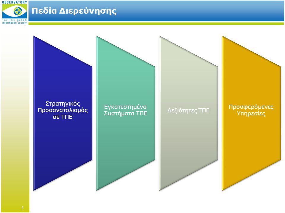 Πεδία Διερεύνησης Στρατηγικός Προσανατολισμός σε ΤΠΕ Εγκατεστημένα Συστήματα ΤΠΕ Δεξιότητες ΤΠΕ Προσφερόμενες Υπηρεσίες 2